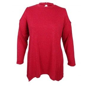 Style & Co Cold Shoulder Red & Silver L/S Tee 0X